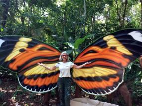 Men installing butterfly wings